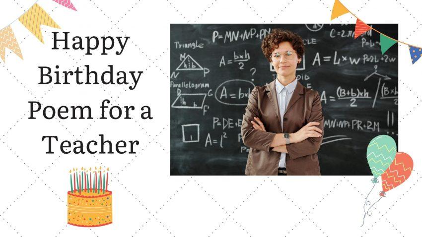Happy Birthday poems for a teacher